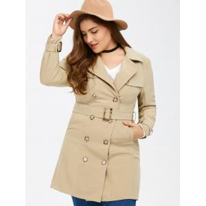 Plus Size Belted Double Breasted Trench Coat - LIGHT KHAKI 5XL
