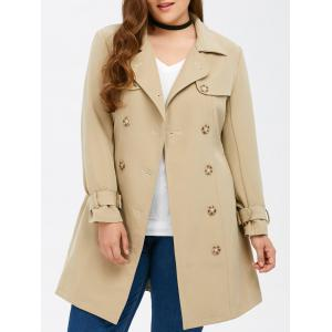 Plus Size Belted Double Breasted Long Trench Coat - Light Khaki - 5xl