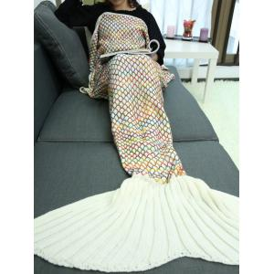 Home Sofa Rhombus Design Knitted Throw Bed Mermaid Blanket -