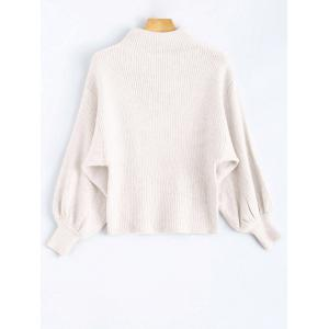 Mock Neck Puff Sleeve Pullover Sweater