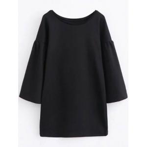 Round Collar Long Sleeve Shift Dress - Black - S
