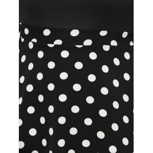 Plus Size Polka Dot Surplice Dress - BLACK 5XL