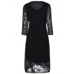 Plus Size Long Sleeve Formal Party Dress with Lace -