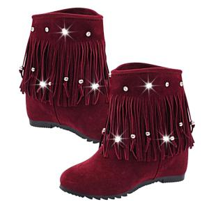 Rhinestones Hidden Wedge Short Boots - WINE RED 39