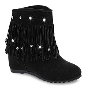 Rhinestones Hidden Wedge Short Boots
