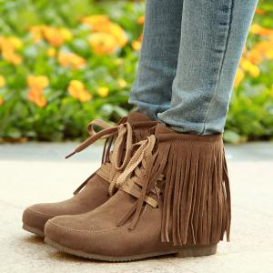 Tie Up Increased Internal Fringe Ankle Boots -