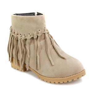 Knot Fringe Zipper Flat Heel Ankle Boots - Light Beige - 39