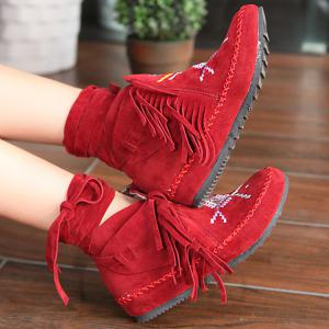 Embroidery Fringe Lace Up Boots -