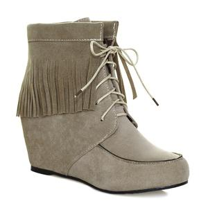 Fringe Tie Up Short Boots - Khaki - 37