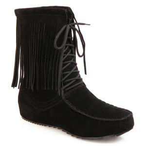 Stitching Fringe Tie Up Short Boots - Black - 38