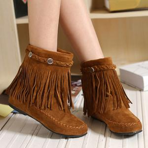 Weave Fringe Stitching Ankle Boots