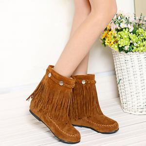 Weave Fringe Stitching Ankle Boots - BROWN 39