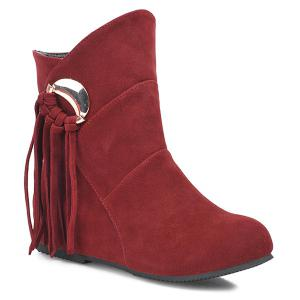 Metal Knot Fringe Flat Heel Short Boots - Dark Red - 38