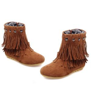 Metal Layer Fringe Zipper Ankle Boots - BROWN 39