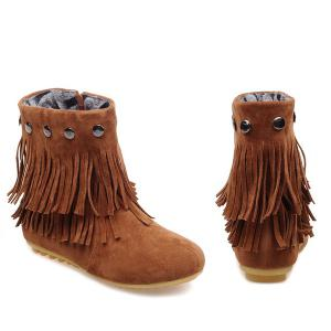 Metal Layer Fringe Zipper Ankle Boots -