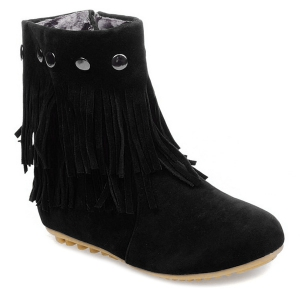 Metal Layer Fringe Zipper Ankle Boots - Black - 39