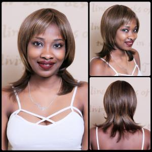 Double Color Medium Side Bang Straight Synthetic Wig