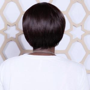Short Mixed Color Neat Bang Straight Synthetic Wig -