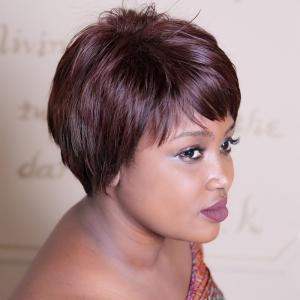Spiffy Short Double Color Neat Bang Straight Synthetic Wig - COLORMIX