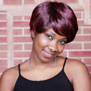 Short Double Color Neat Bang Spiffy Straight Synthetic Wig - COLORMIX