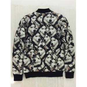 3D Animal Print Stand Collar Snap Front Jacket - BLACK XL