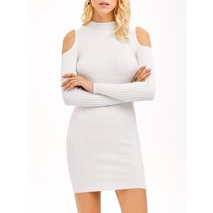 Ribbed Cold Shoulder Long Sleeve Bodycon Dress - White - S