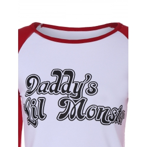 Raglan Sleeve Letter Printed T-Shirt - WHITE XL