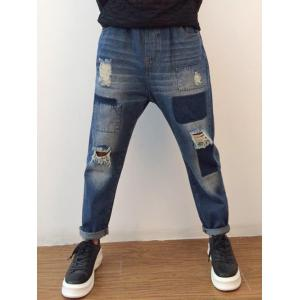 Applique Tapered Distressed Harem Jeans -