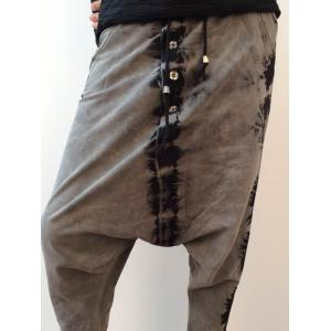 Tie Dyed Button Embellished Drawstring Harem Pants -