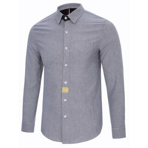 Turndown Collar Button Long Sleeve Pocket Shirt - GRAY 2XL