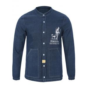 Mandarin Collar Long Sleeve Printed Pocket Shirt