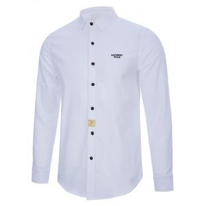 Turndown Collar Button Long Sleeve Letter Shirt - WHITE 2XL