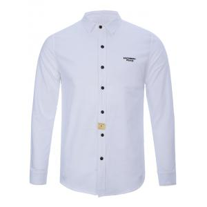 Turndown Collar Button Long Sleeve Letter Shirt