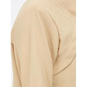 Plus Size Pocket Design Open Front Jacket - LIGHT KHAKI 4XL