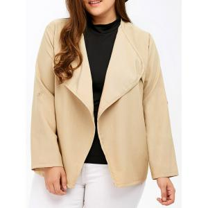 Plus Size Pocket Design Open Front Jacket