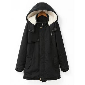 Plus Size Hooded Flocking Coat - Black - 4xl