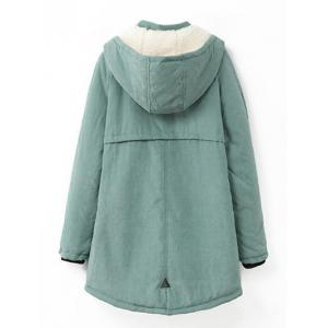 Plus Size Hooded Flocking Coat - PEA GREEN XL