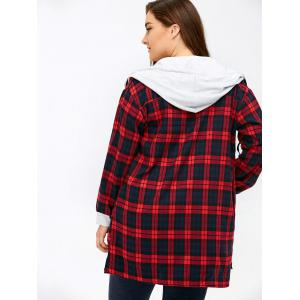 Plus Size Hooded Plaid Long Flannel Shirt -