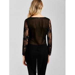 Asymmetric See Through Lace Splicing T-Shirt -