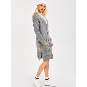 Drop Shoulder Knit Cardigan With Pocket - GRAY ONE SIZE