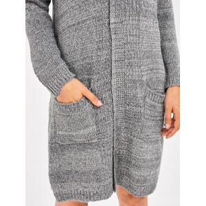 Drop Shoulder Knit Long Cardigan With Pocket - GRAY ONE SIZE
