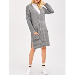 Drop Shoulder Knit Long Cardigan With Pocket - Gray - One Size