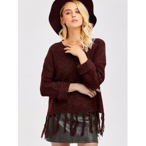 Tassel Drop Shoulder High Low Sweater - WINE RED ONE SIZE
