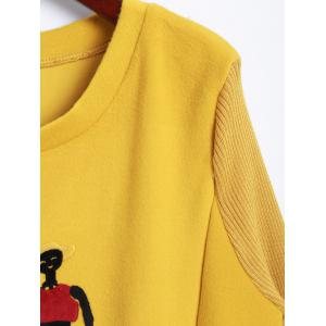Loose Knit Splicing Figures Pattern Dress - YELLOW 2XL