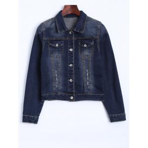 The Union Flag Spliced Cropped Denim Jacket