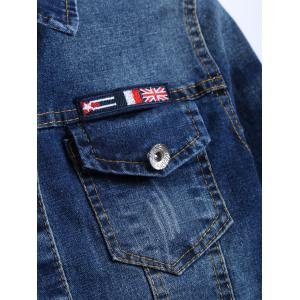 The Union Flag Spliced Cropped Jean Jacket -