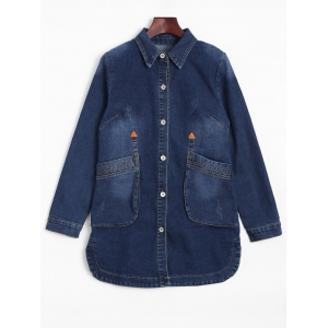 Fitted Long Casual Denim Jean Jacket with Sleeves