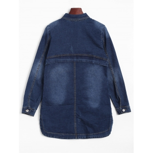 Fitted Long Casual Denim Jean Jacket with Sleeves -