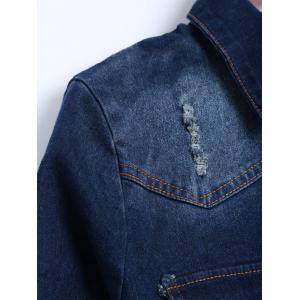 Distressed Long Ripped Jean Jacket - DEEP BLUE L