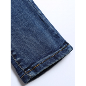 High Waisted Patches Distressed Jeans - DEEP BLUE 31